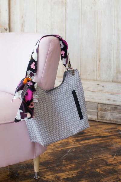 Sachet Bag in Grey Dots