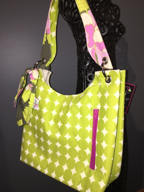 Small Sachet Bag in Lime Circles