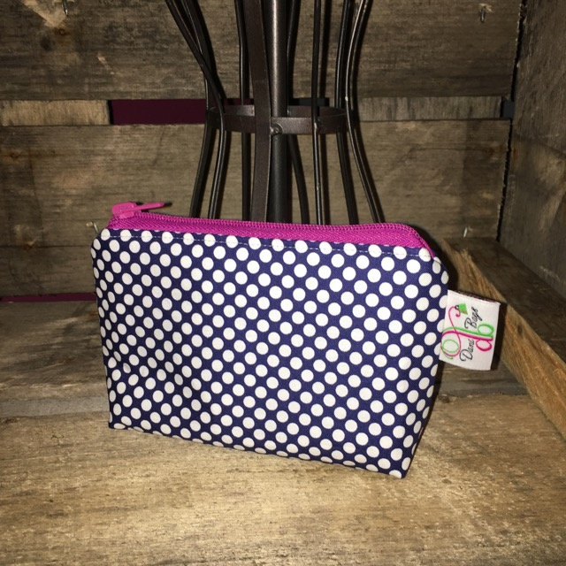 Zippered pouch in blue dots