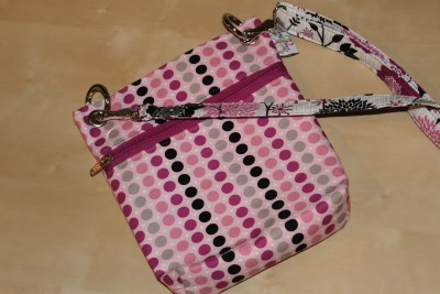 Mini Messenger in Fuschia Dots