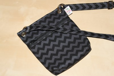 Mini Messenger in Black Chevron black zip