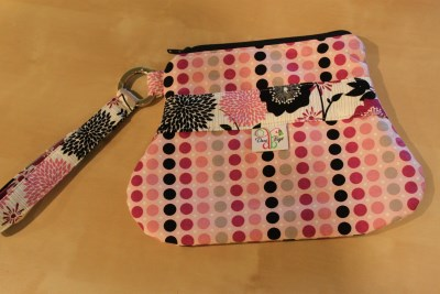 Out n About Wristlet in Fuchsa Dots