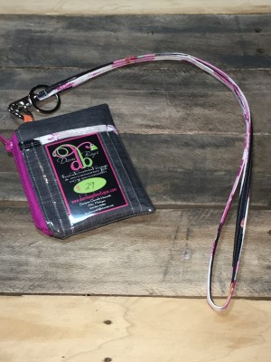 I.D. Lanyard in Wicked fuschia zip