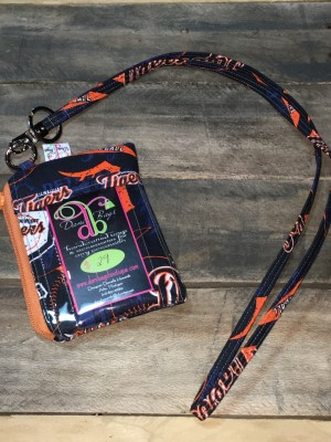 I.D. Lanyard in Tigers orange zip