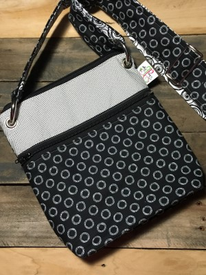 Small Messenger Bag in Black with white rings