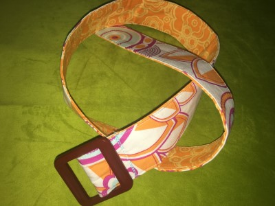Belt in Orange with Brown buckle