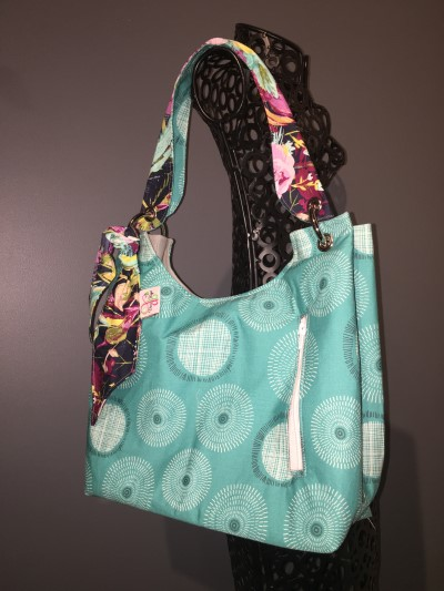 Sachet Bag in Turquoise, white zip