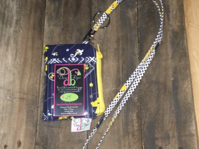 U of M yellow zip White Lanyard