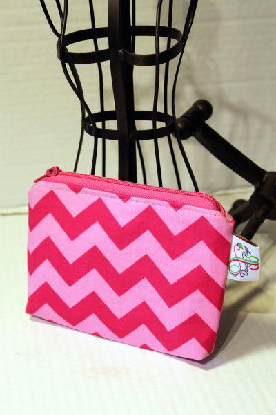 Zippered Pouch in Pink Chevron