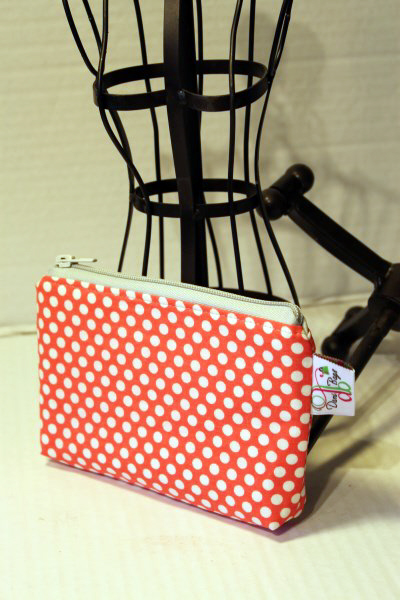 Zippered Pouch in Orange dots