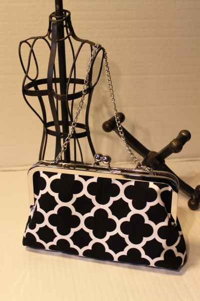 Purse Frame Clutch in Black Quatrefoil