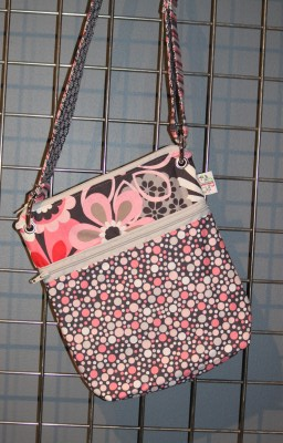 Large Zippered Messenger in Flower Shower and Dots