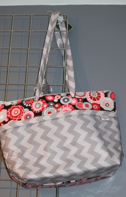 Zippered Vital tote in Olympia and Grey Chevron