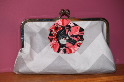 Purse Frame Clutch in Grey Chevron with Flower