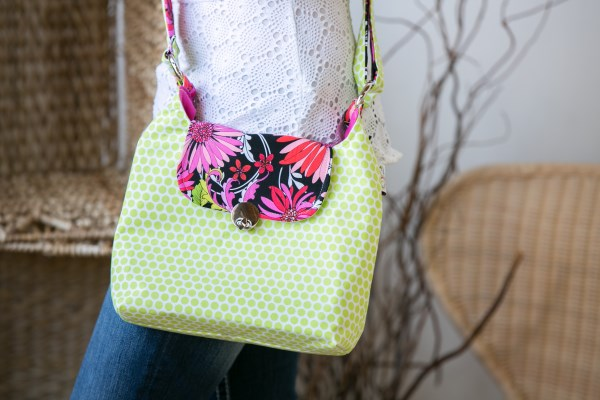 Twist Lock Messenger in Lime Dots