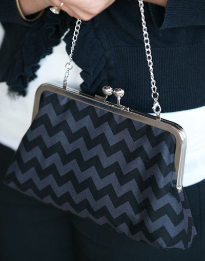 Purse Frame Clutch in Black Chevron with chain